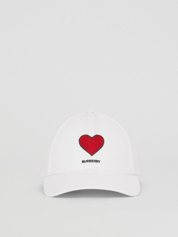 Heart Motif Cotton Gabardine Baseball Cap in White