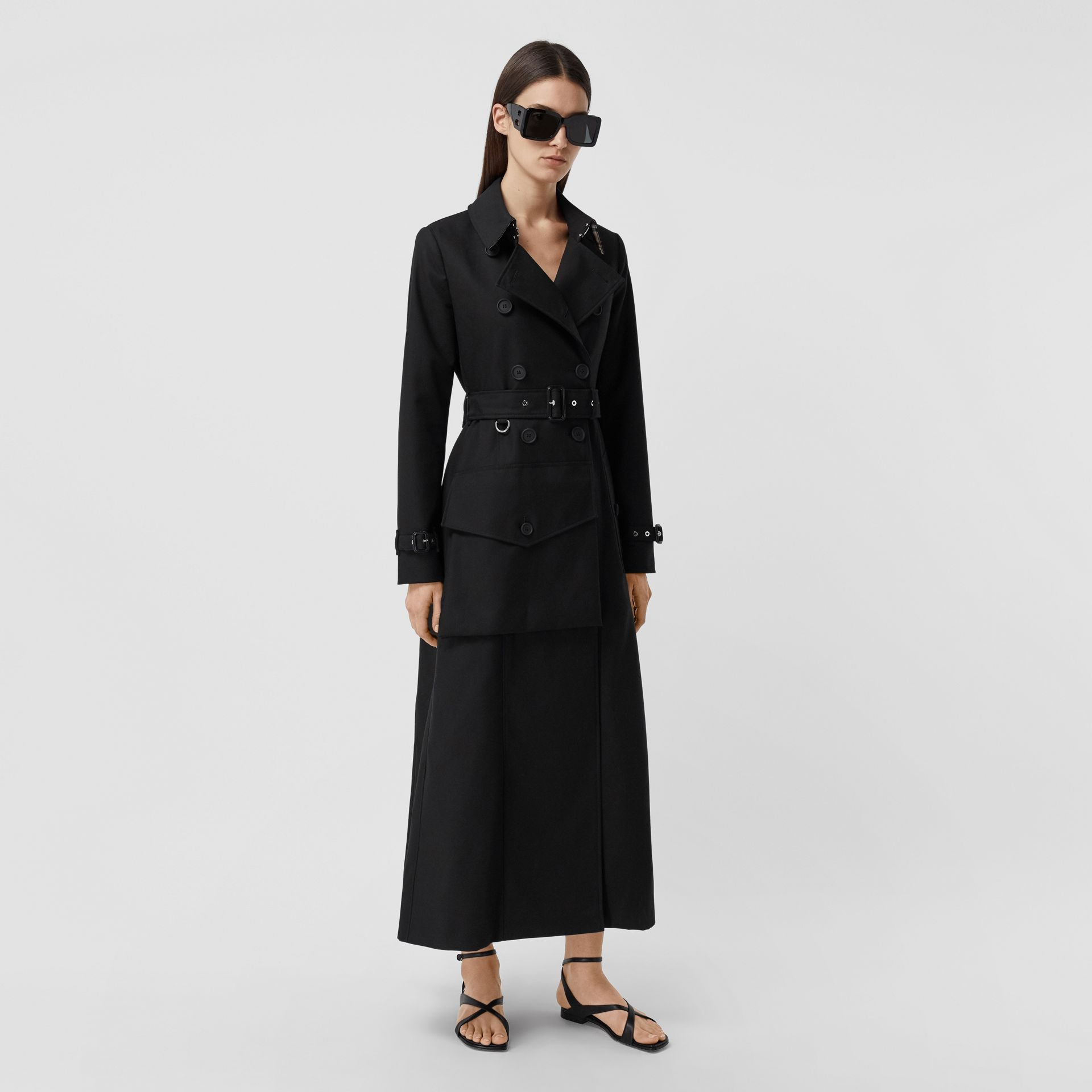 Pocket Detail Cotton Gabardine Trench Coat in Black - Women | Burberry - gallery image 6