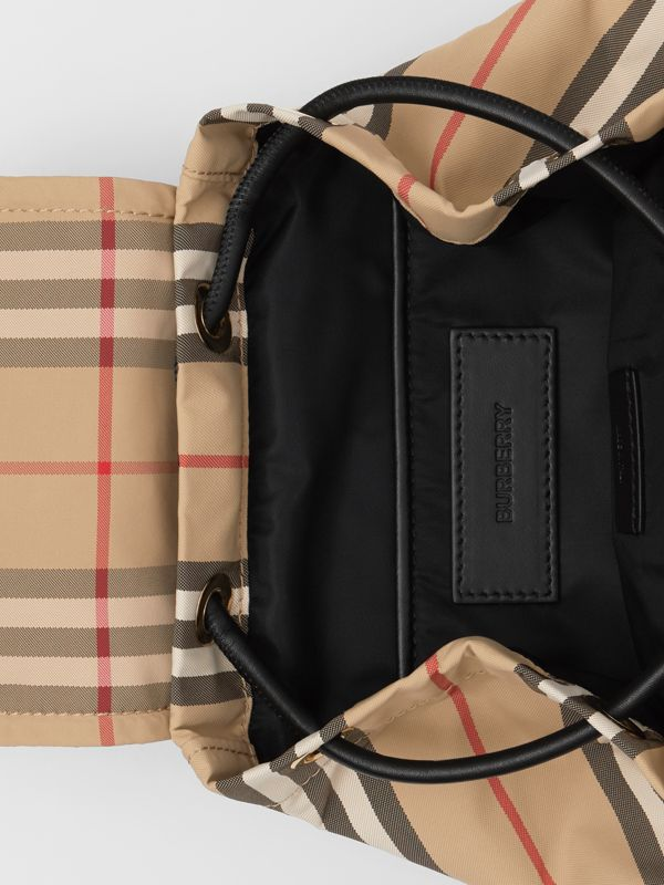 The Small Rucksack in Icon Stripe ECONYL® in Archive Beige - Women | Burberry Australia - cell image 3