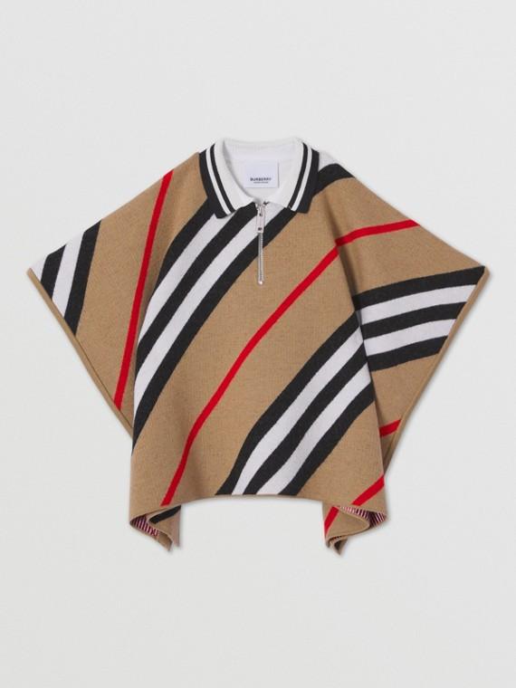 Wollcape im Streifendesign (Vintage-beige)