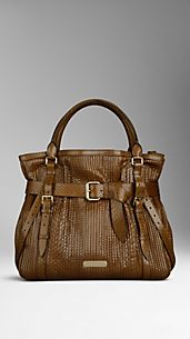 Large Python Leather Tote Bag