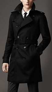 Trench-coat mi-long en coton technique