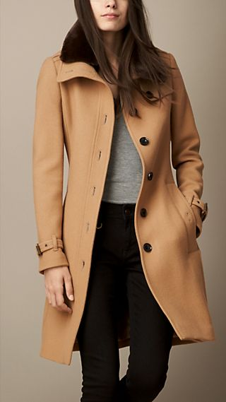 Wool Blend Twill Coat with Shearling Topcollar