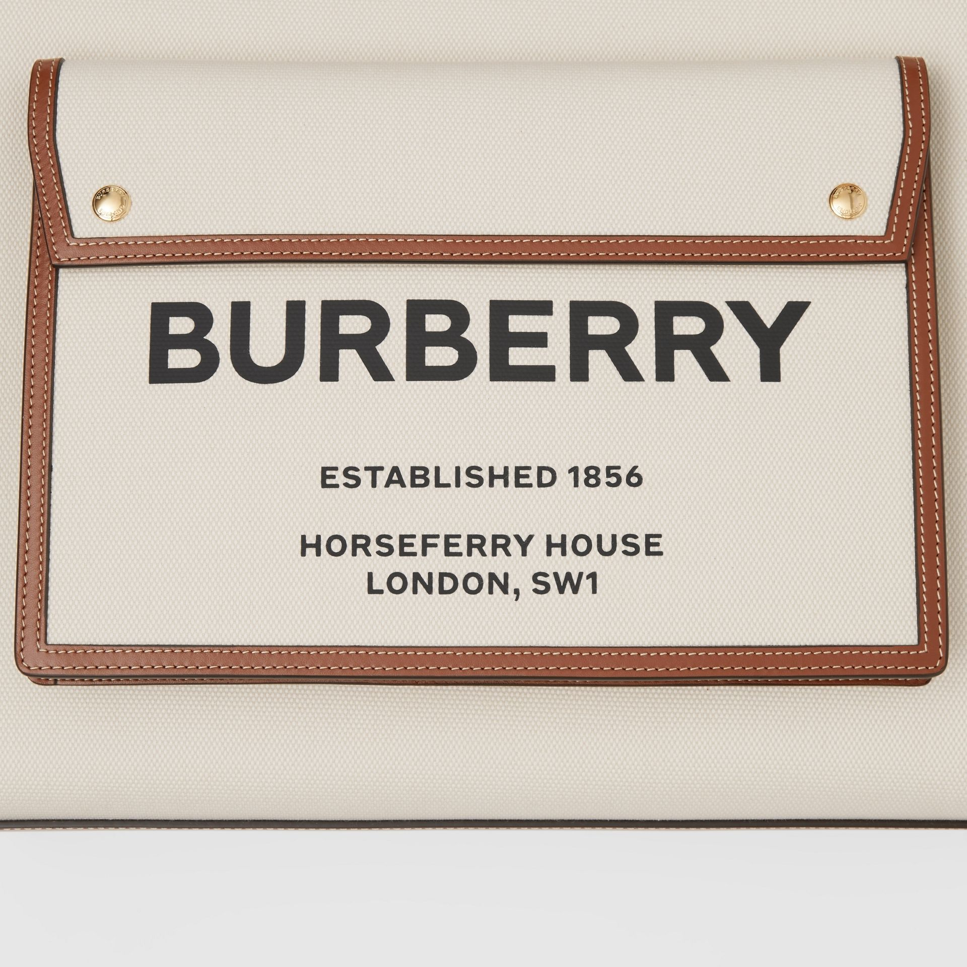 Medium Two-tone Canvas and Leather Pocket Bag in Natural/malt Brown - Women | Burberry United Kingdom - gallery image 1