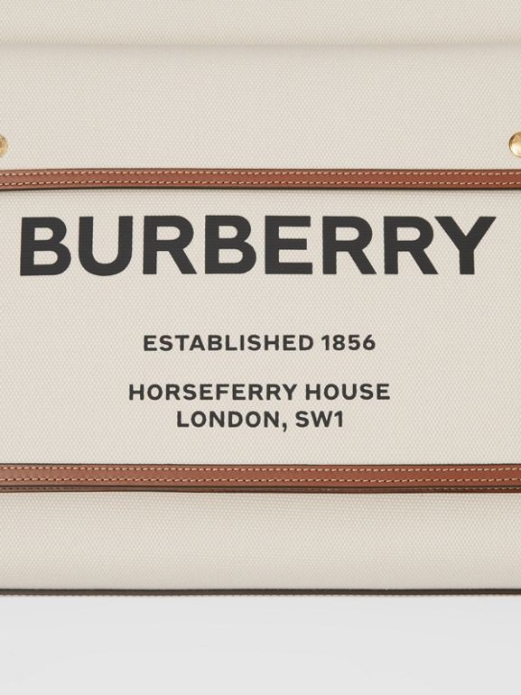 Medium Two-tone Canvas and Leather Pocket Bag in Natural/malt Brown - Women | Burberry United Kingdom - cell image 1