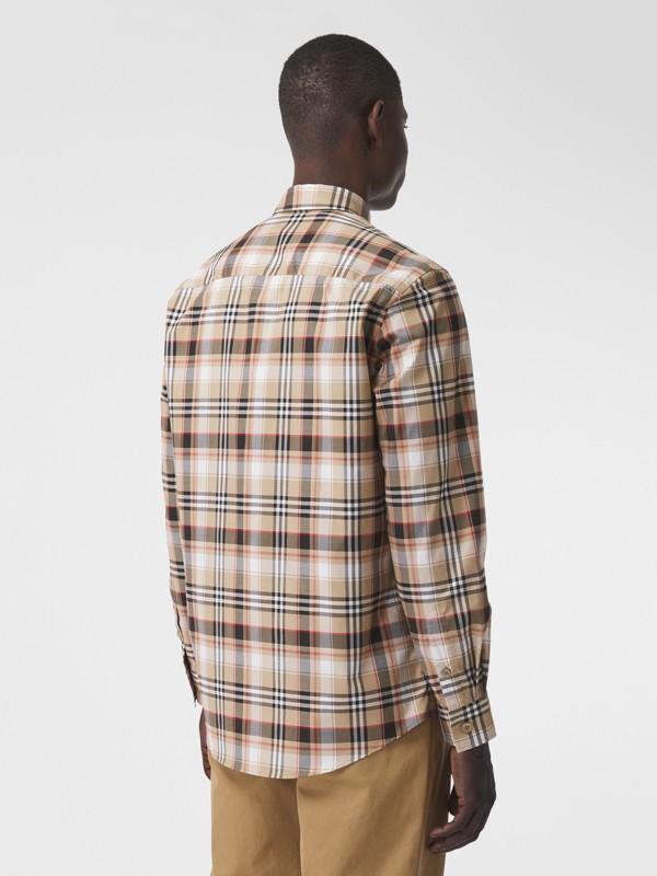 Camisa de algodão stretch com logotipo B bordado (Preto) - Homens | Burberry - cell image 2