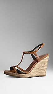 Studded Check Espadrille Wedges
