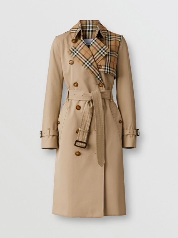 Trench coat in gabardine di cotone con pannelli Vintage check (Miele)