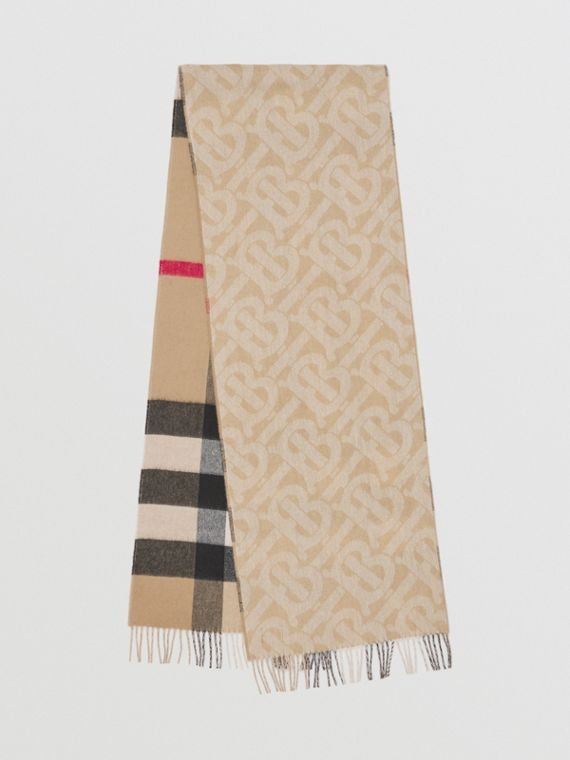 Reversible Check and Monogram Cashmere Scarf in Archive Beige