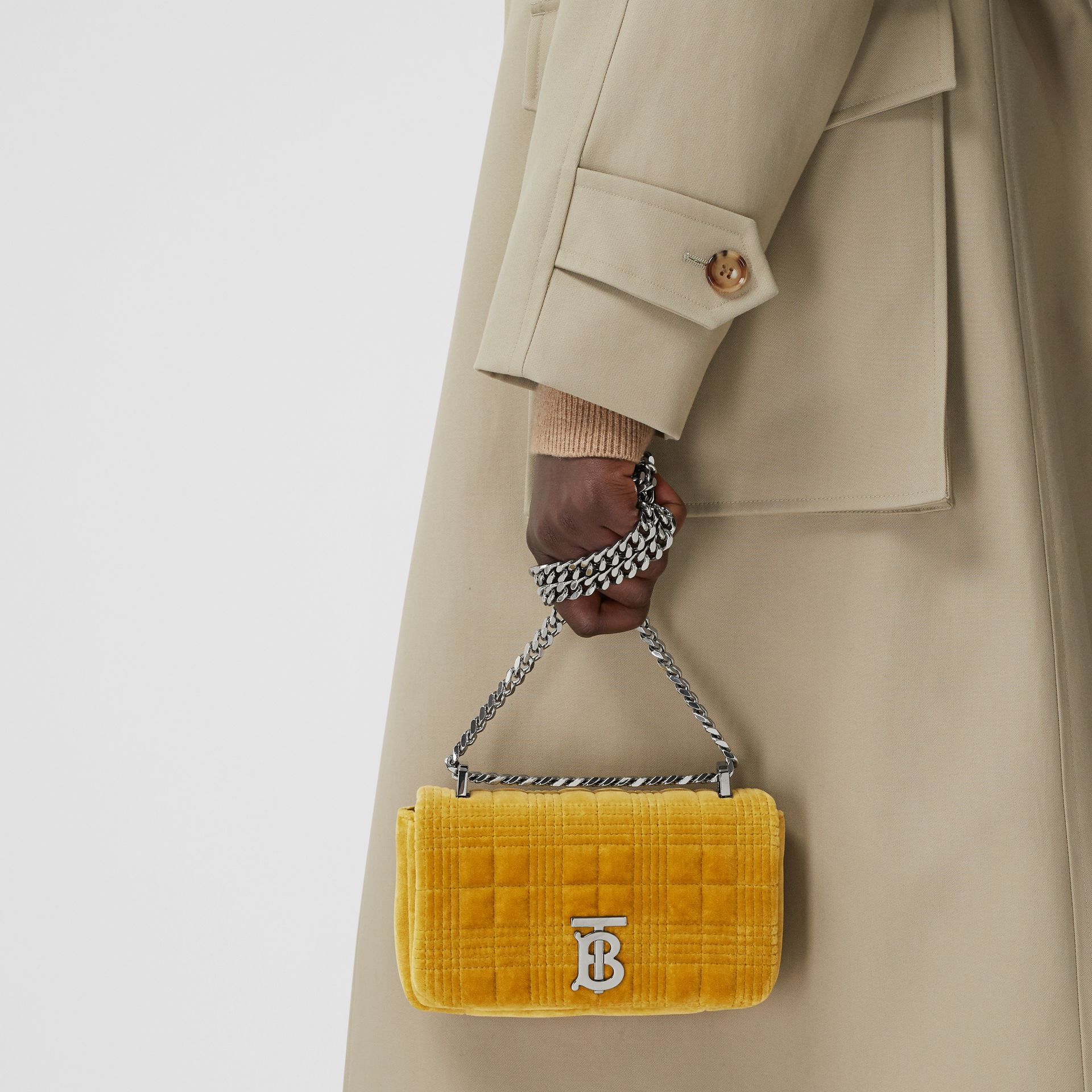 Mini Quilted Velvet Lola Bag in Fresh Moss Green - Women | Burberry - gallery image 8