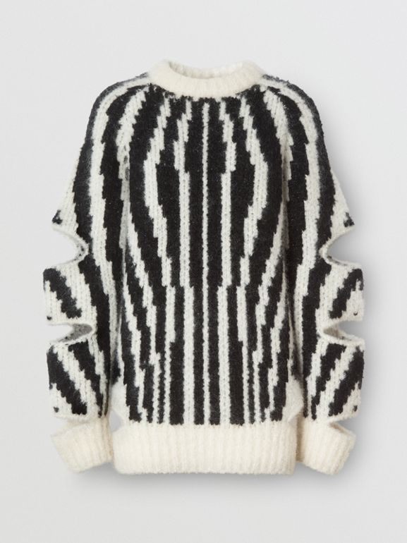 Cut-out Sleeve Wool Mohair Blend Jacquard Sweater | Burberry United Kingdom - cell image 1