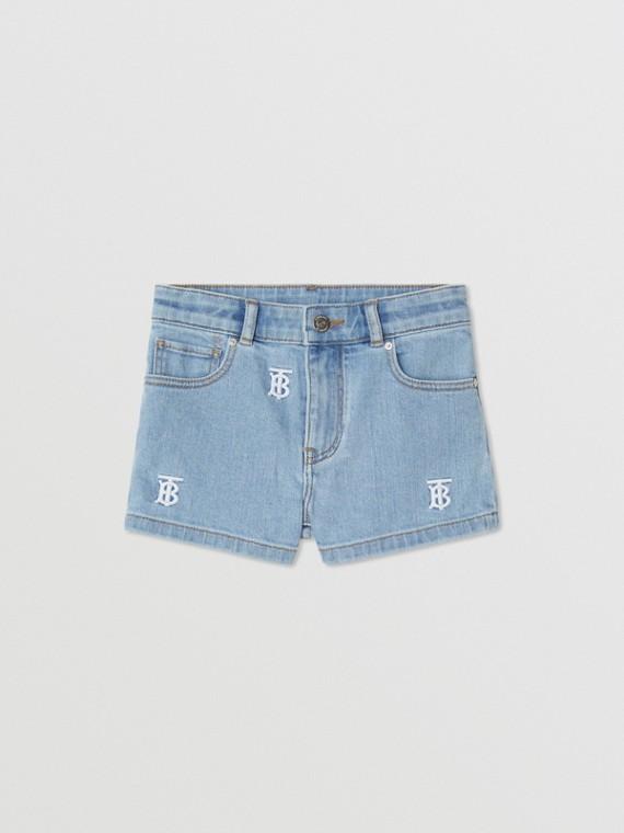 Monogram Motif Stretch Denim Shorts in Pale Blue