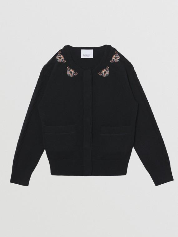 Cardigan en laine à motif Thomas Bear (Noir)