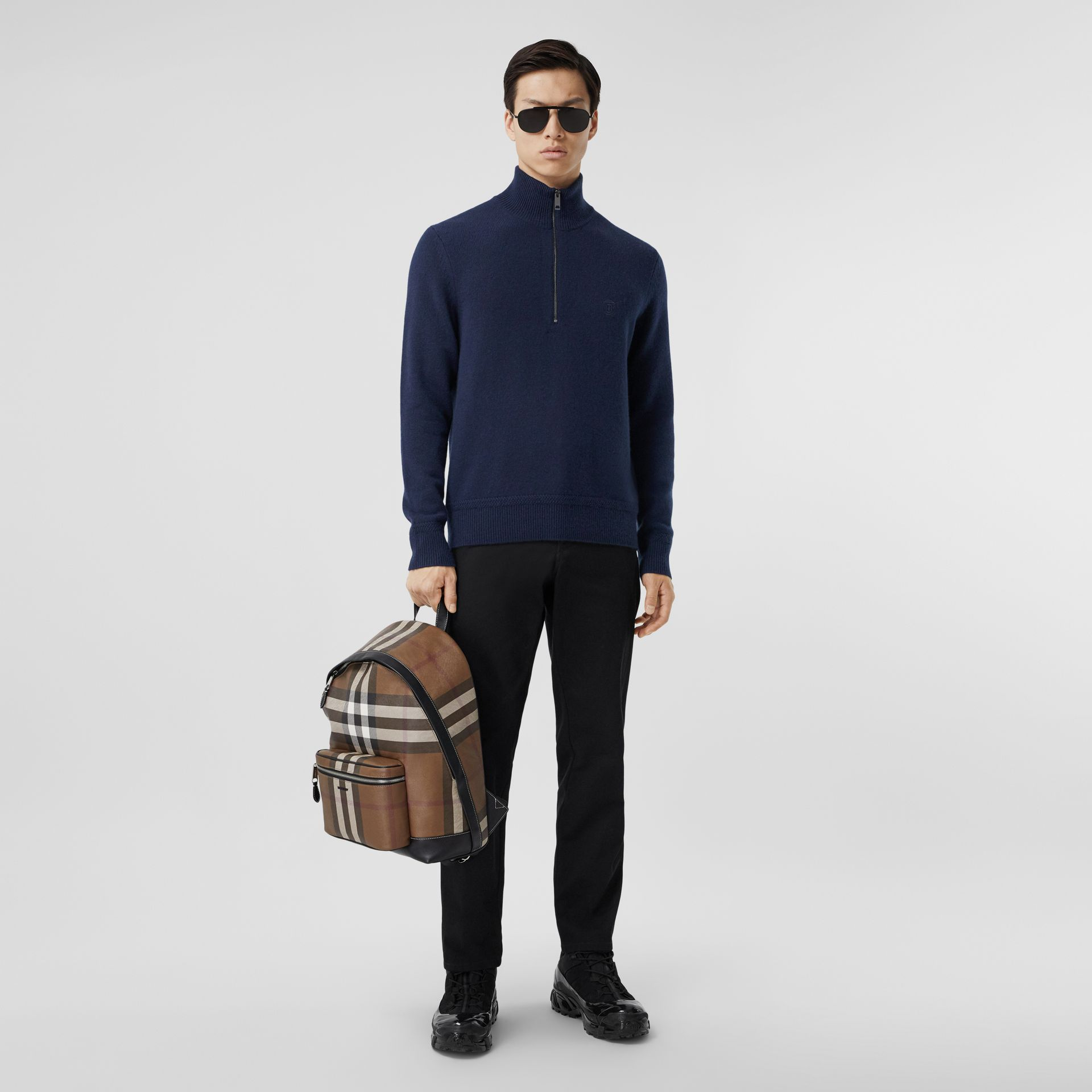 Monogram Motif Cashmere Funnel Neck Sweater in Navy - Men | Burberry - gallery image 4
