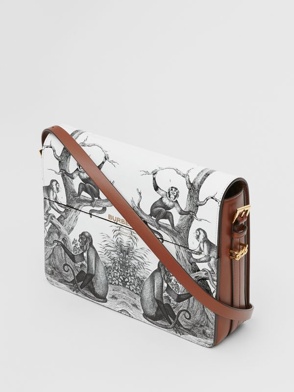 Large Monkey Print Leather Grace Bag in Black/white - Women | Burberry - cell image 3