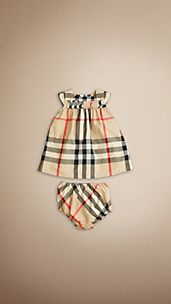 Cap Sleeve Check Cotton Dress