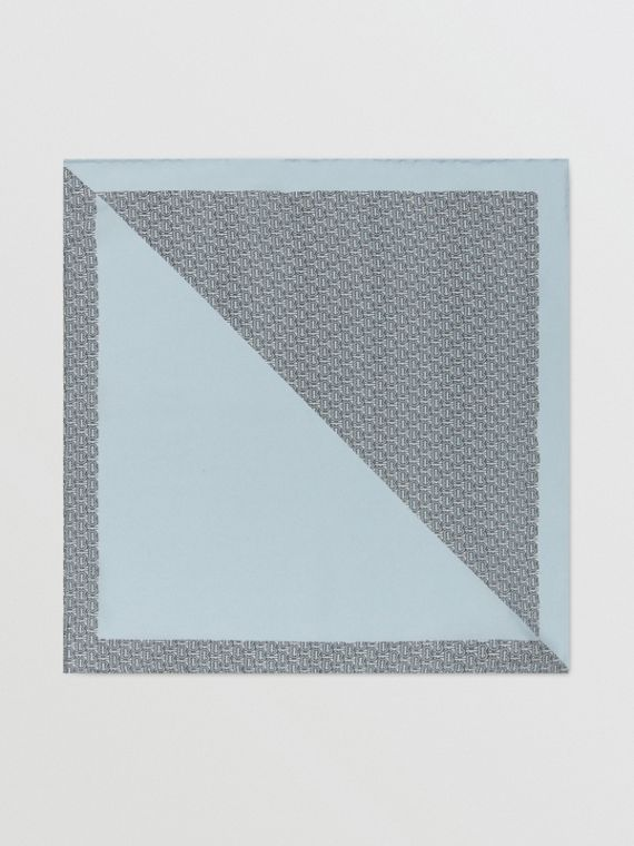 Monogram Panel Silk Pocket Square in Pale Blue