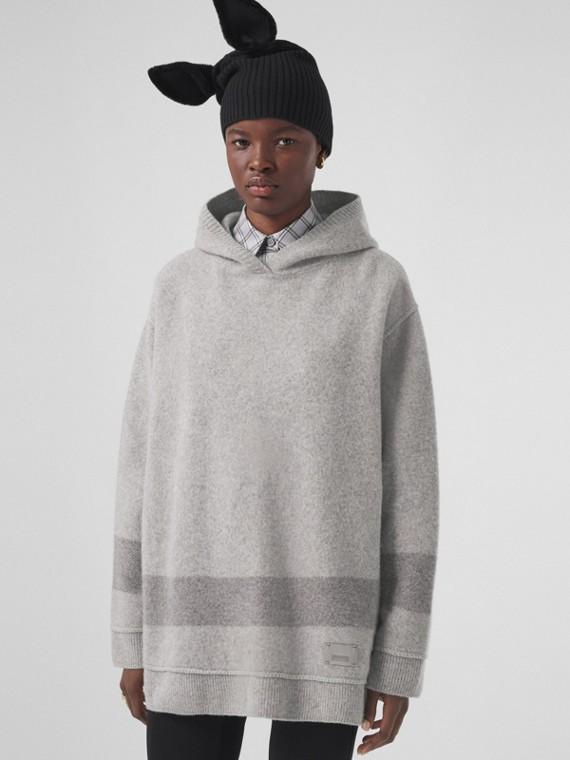 Stripe Detail Wool Cashmere Oversized Hoodie in Pale Grey Melange