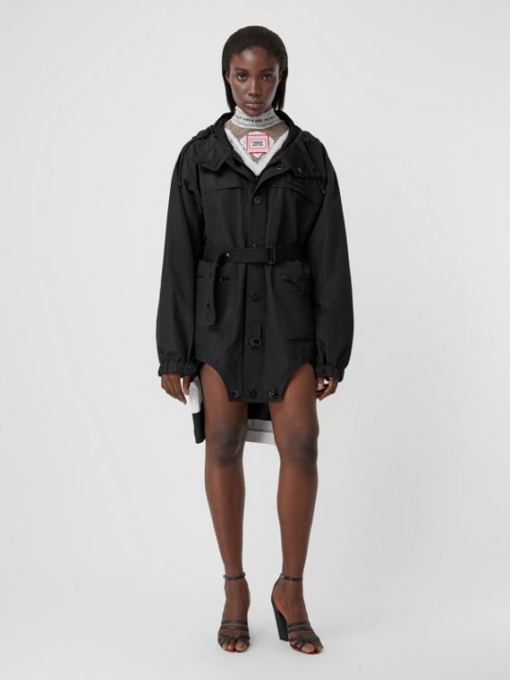 Cut-out Hem Technical Cotton Parka in Black