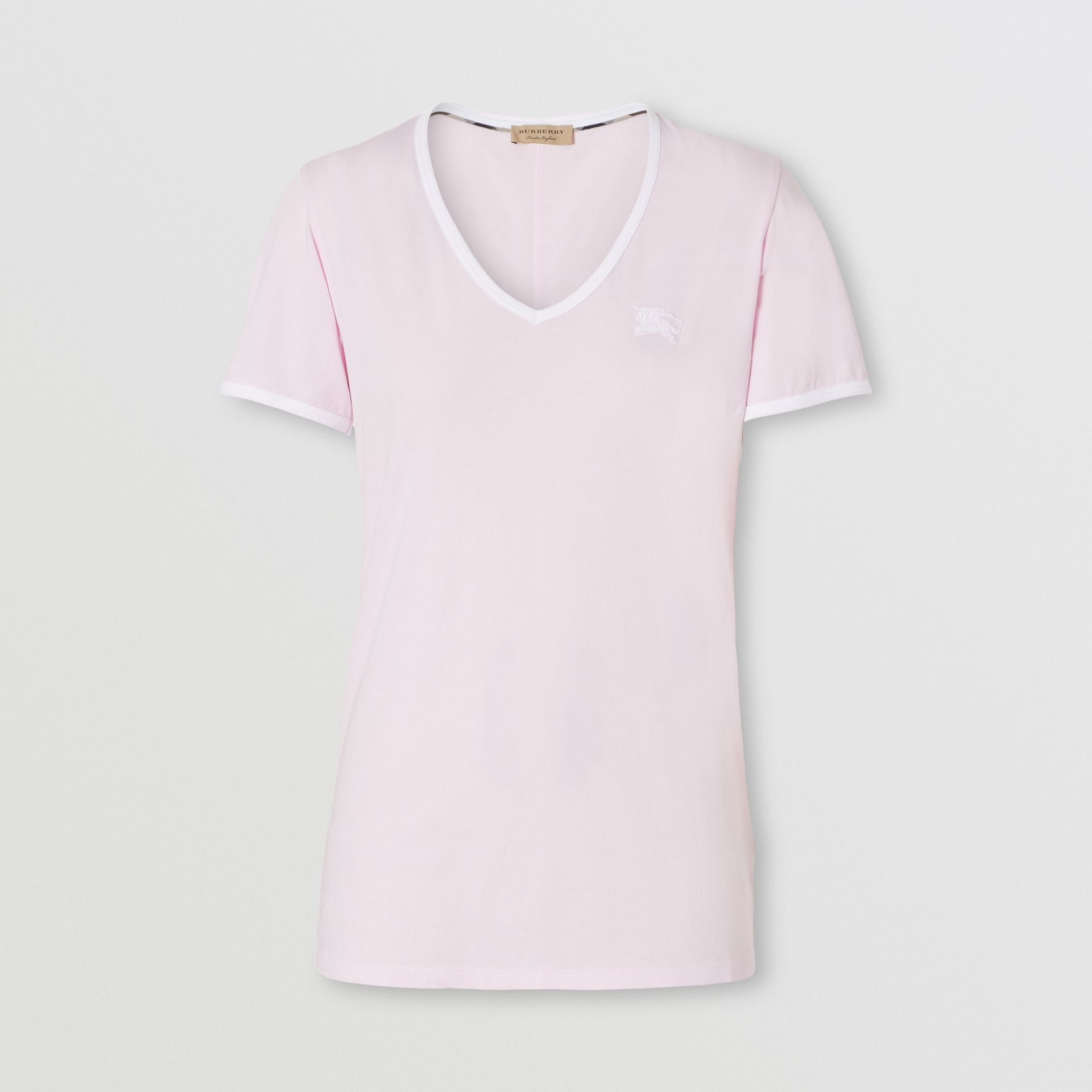 Embroidered EKD Cotton T-shirt in City Pink - Women | Burberry - gallery image 0