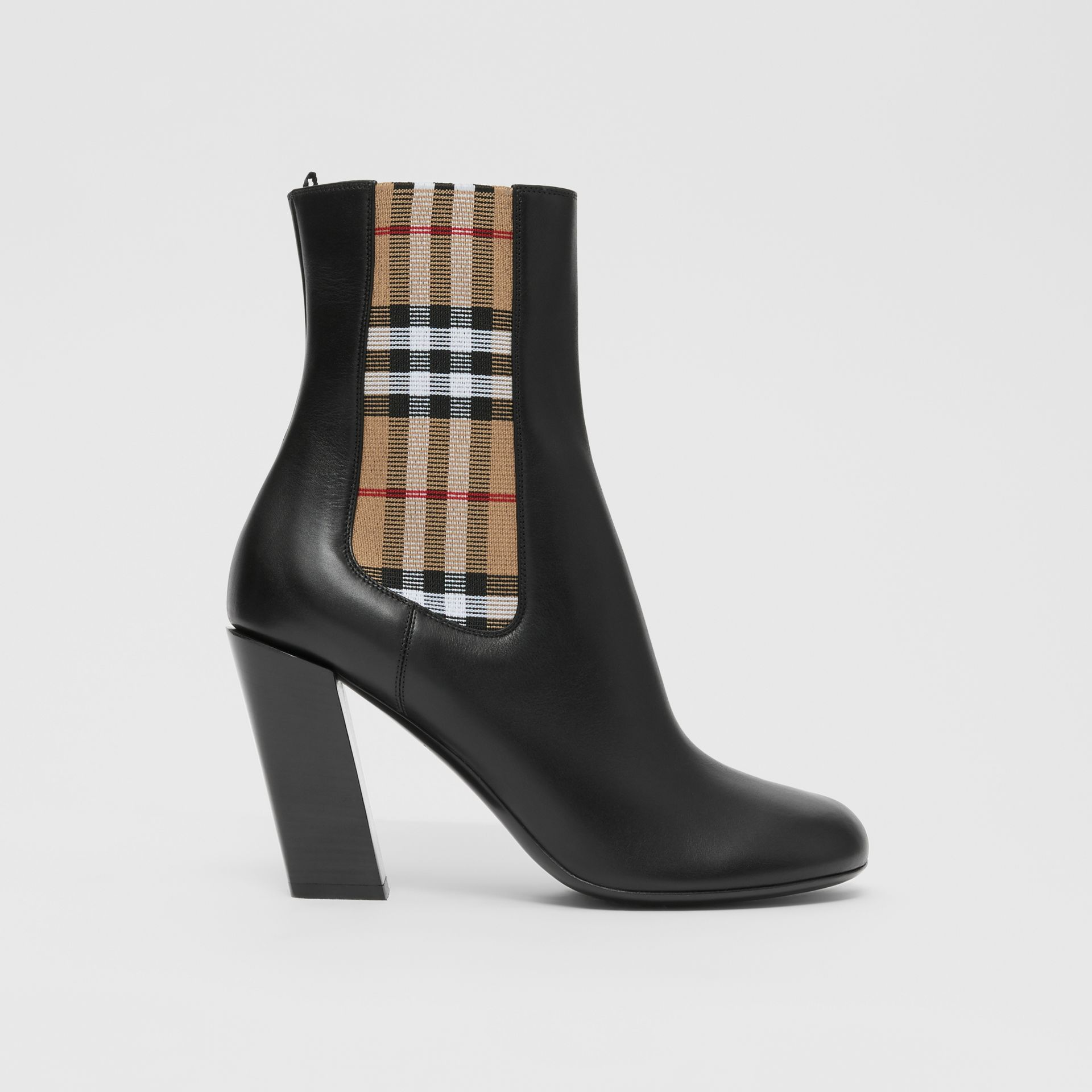 Vintage Check Detail Leather Ankle Boots in Black - Women | Burberry United Kingdom - gallery image 4