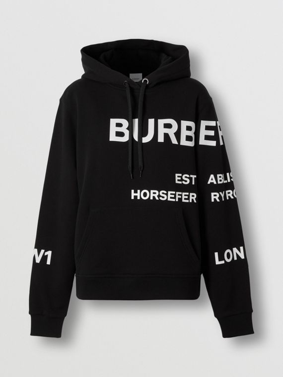 Horseferry Print Cotton Oversized Hoodie in Black