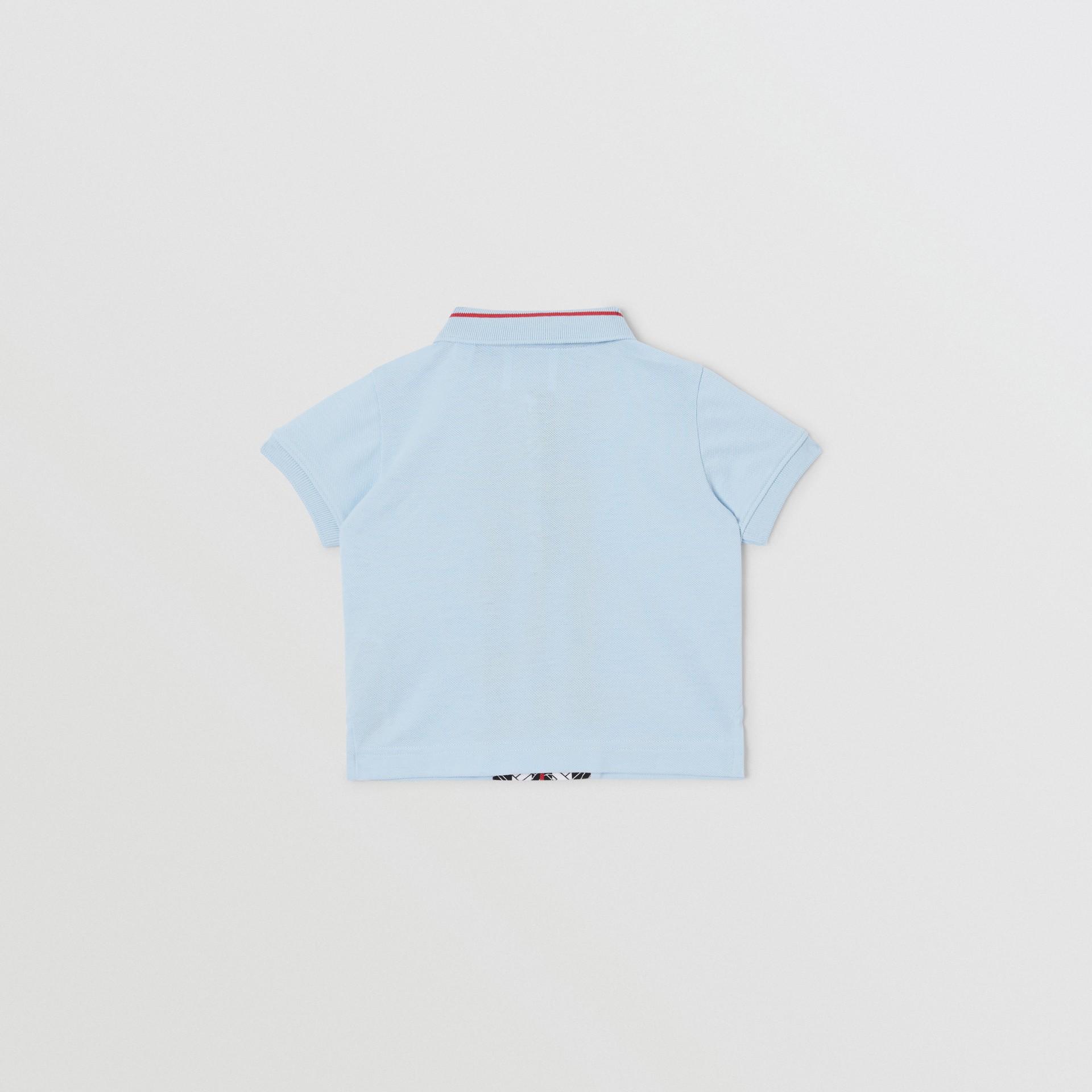 Monogram Stripe Print Cotton Piqué Polo Shirt in Pale Blue - Children | Burberry - gallery image 3