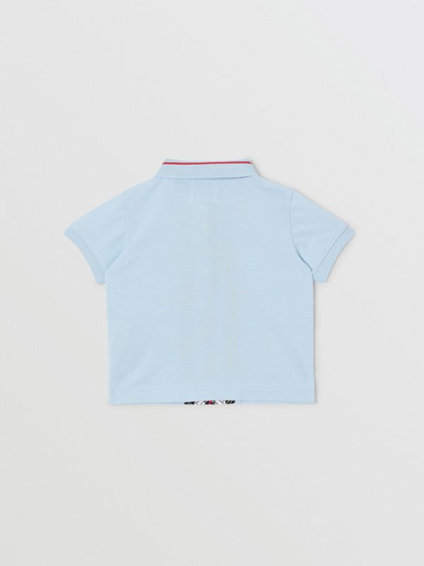 Monogram Stripe Print Cotton Piqué Polo Shirt in Pale Blue - Children | Burberry - cell image 3