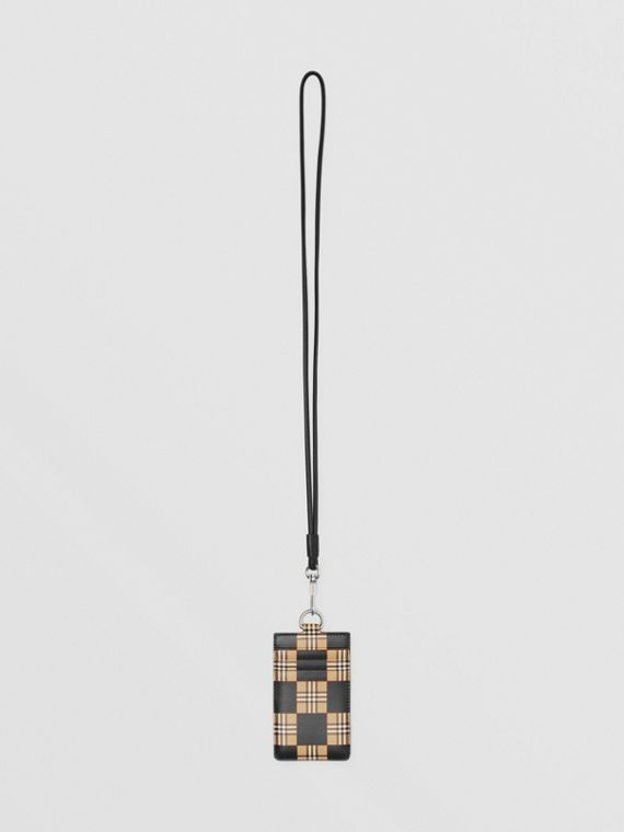 Chequer Print Leather Card Case Lanyard