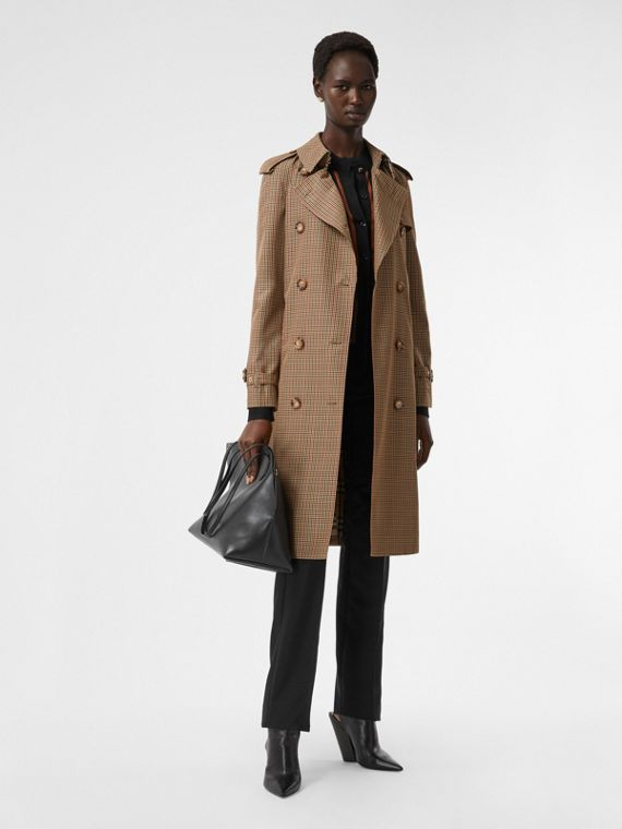 Check Recycled Polyester Trench Coat in Brown
