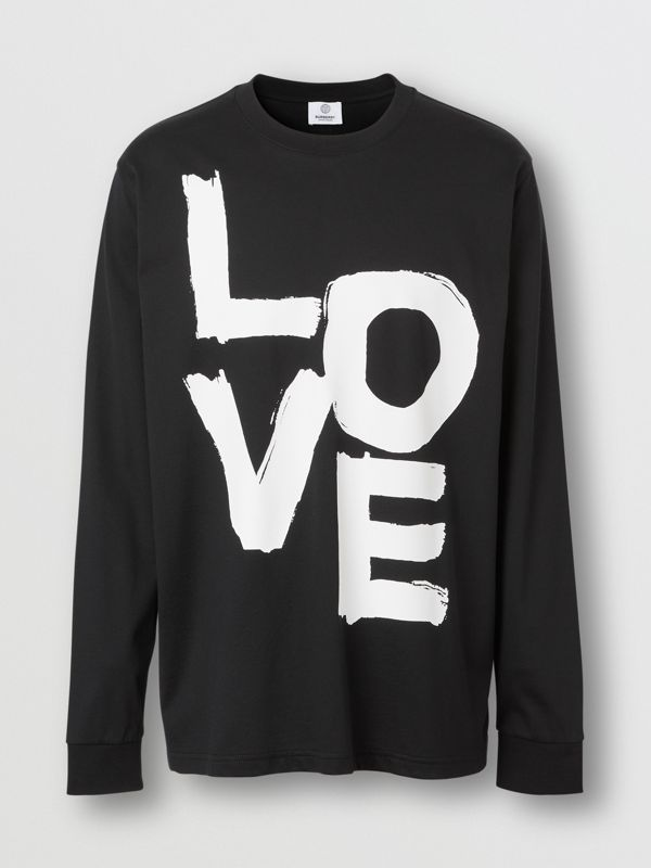 Long-sleeve Love Print Cotton Top in Black - Men | Burberry - cell image 3