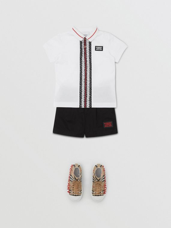 Monogram Stripe Cotton Piqué Polo Shirt in White