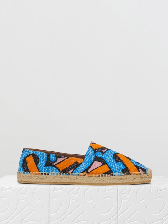 Monogram Print Cotton Canvas Espadrilles in Bright Cobalt
