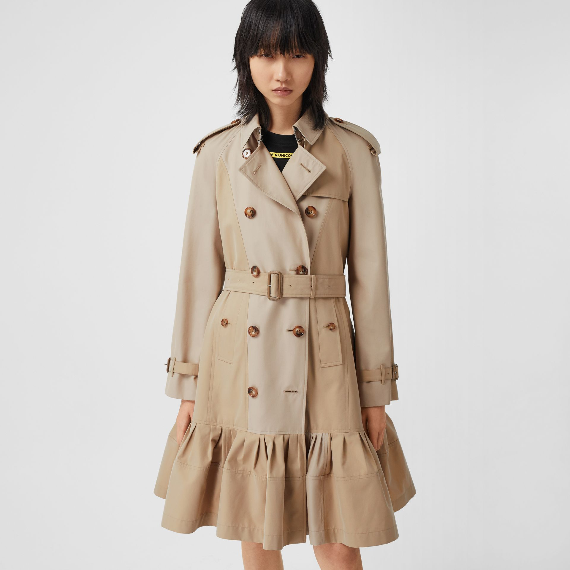 Gathered Detail Cotton Gabardine Trench Coat in Light Sand - Women | Burberry - gallery image 5