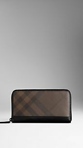 Cartera de checks smoked con cremallera perimetral
