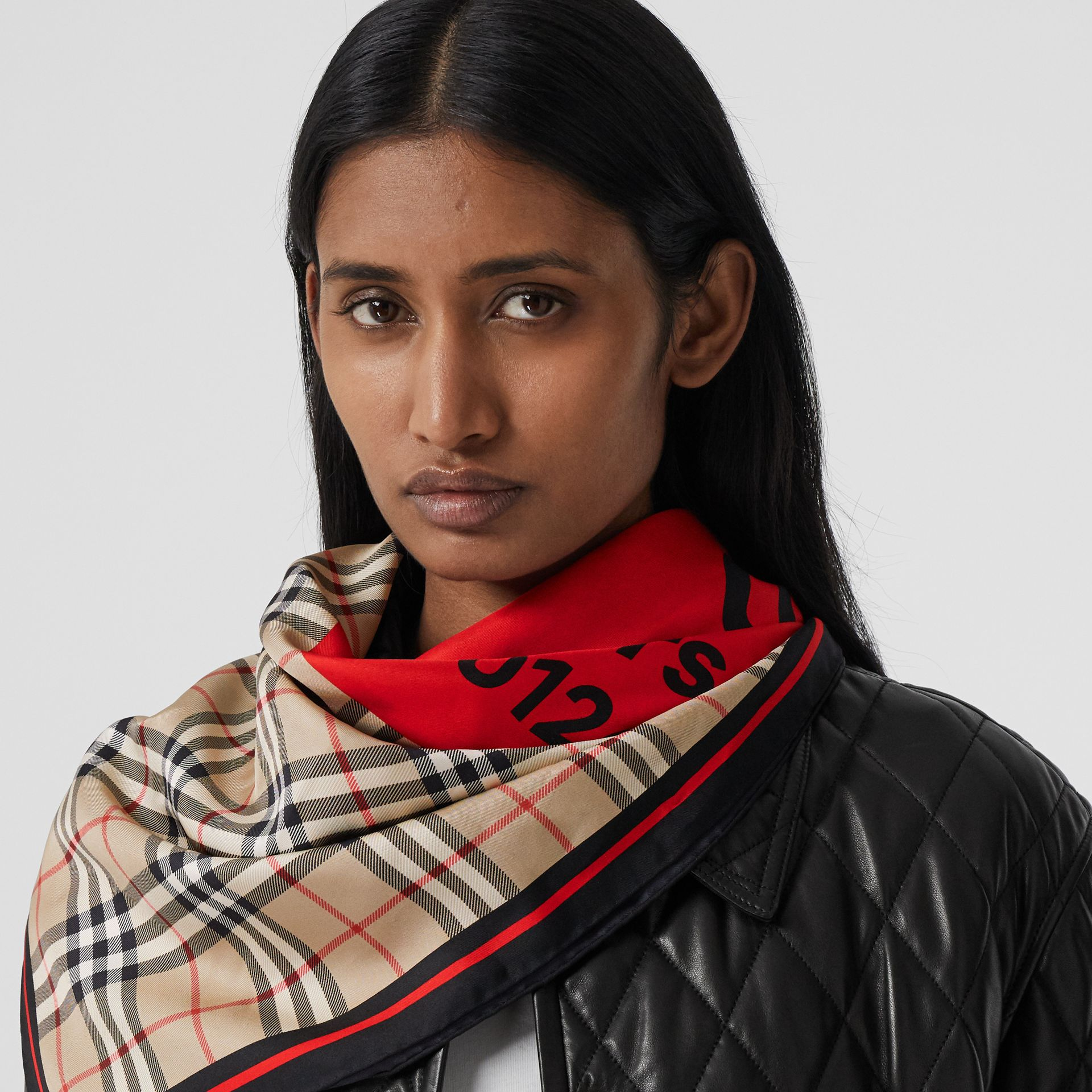 Montage Print Silk Square Scarf in Archive Beige/red/pink | Burberry Canada - gallery image 2