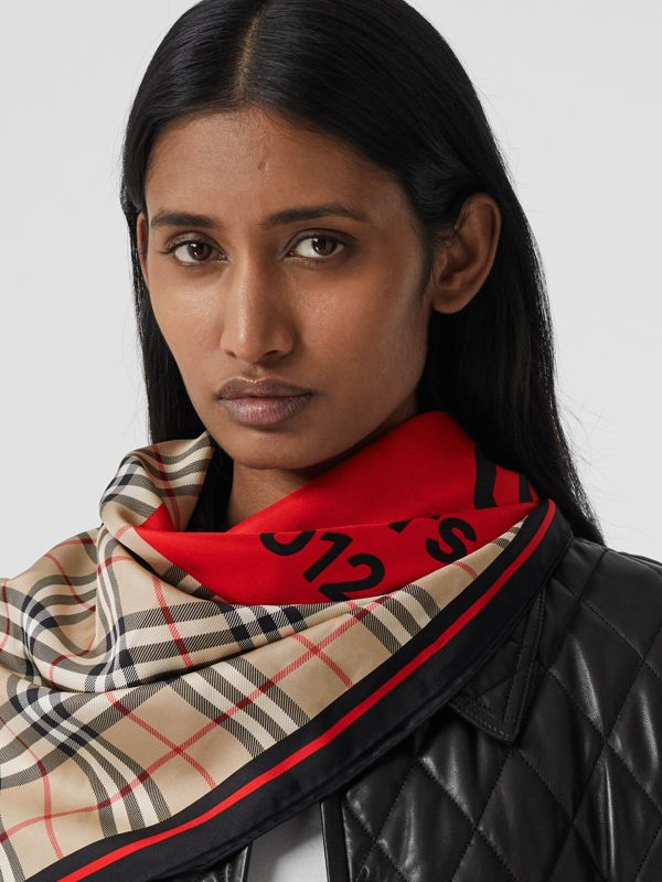 Montage Print Silk Square Scarf in Archive Beige/red/pink | Burberry - cell image 2