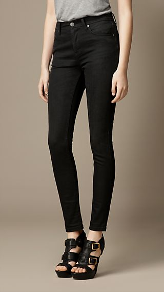 Skinny Fit High-Rise Washed Black Jeans