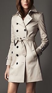 Trench-coat long de coupe étroite en coton extensible