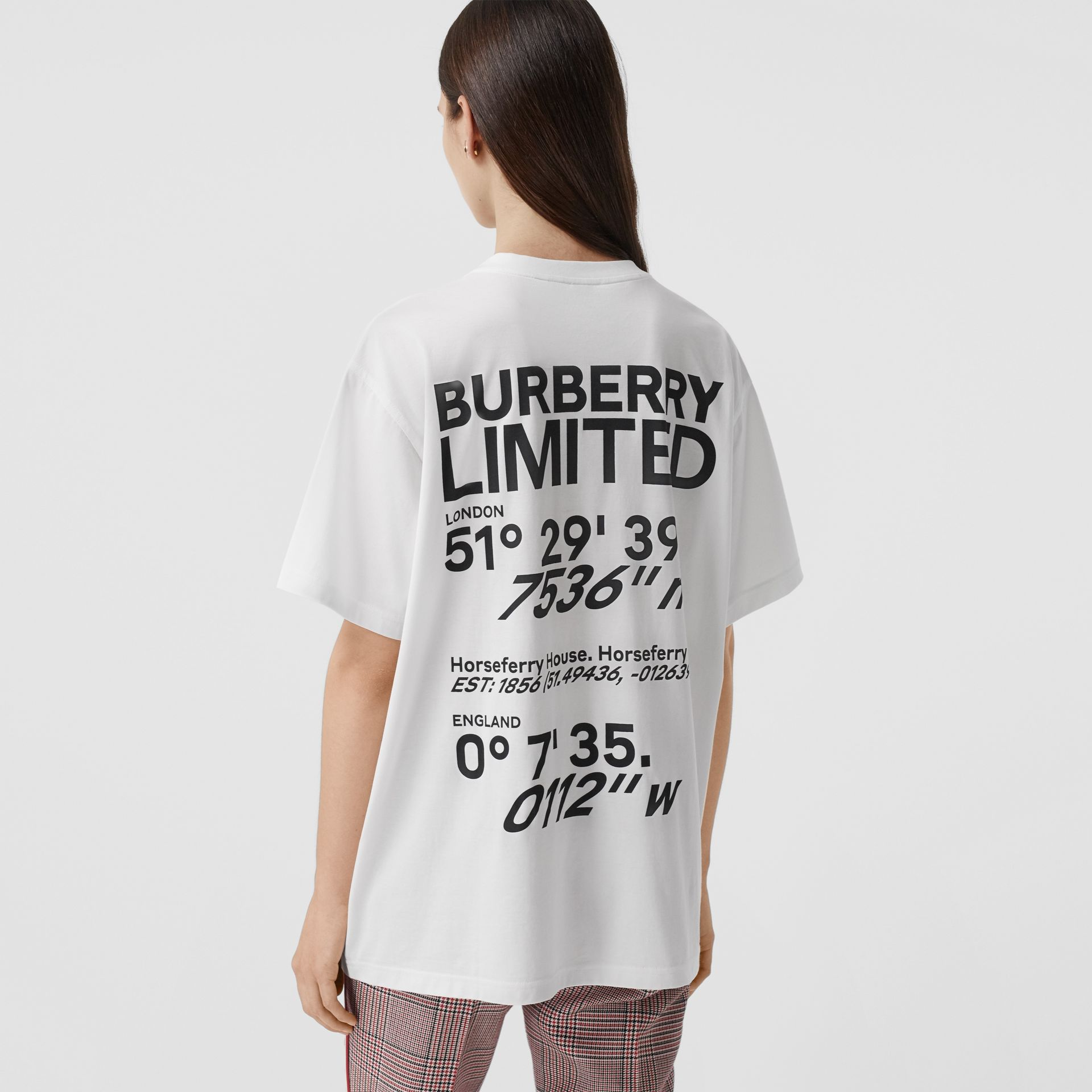 Coordinates Print Cotton Oversized T-shirt in White - Women | Burberry - gallery image 5