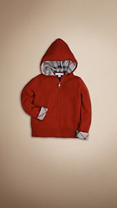 Check-Lined Cashmere Hooded Top