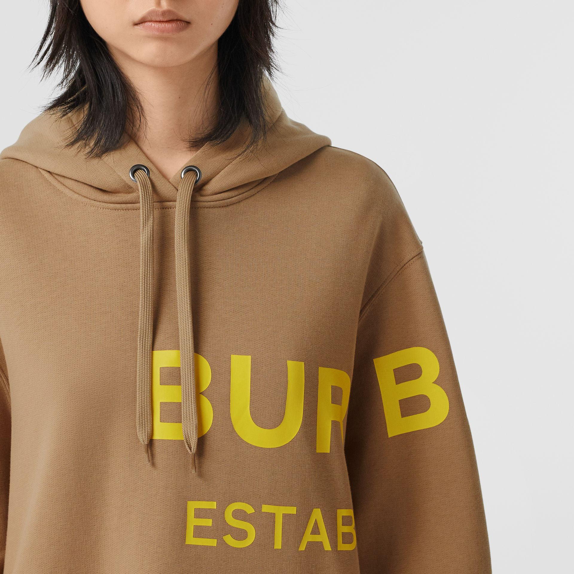 Horseferry Print Cotton Oversized Hoodie in Archive Beige | Burberry United Kingdom - gallery image 1