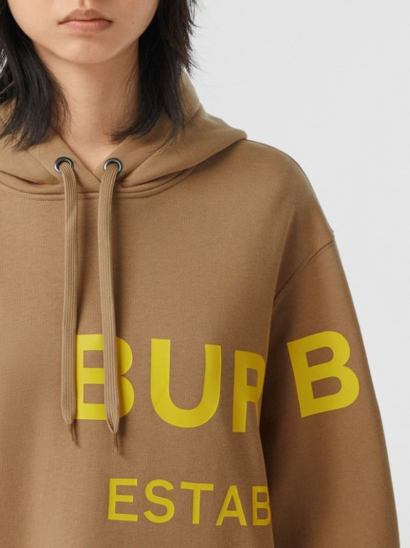 Horseferry Print Cotton Oversized Hoodie in Archive Beige | Burberry United Kingdom - cell image 1