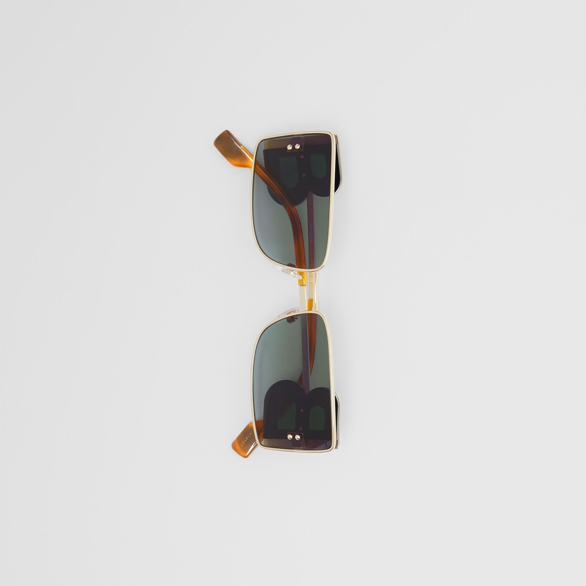 'B' Lens Detail Rectangular Frame Sunglasses in Tortoiseshell | Burberry - gallery image 4
