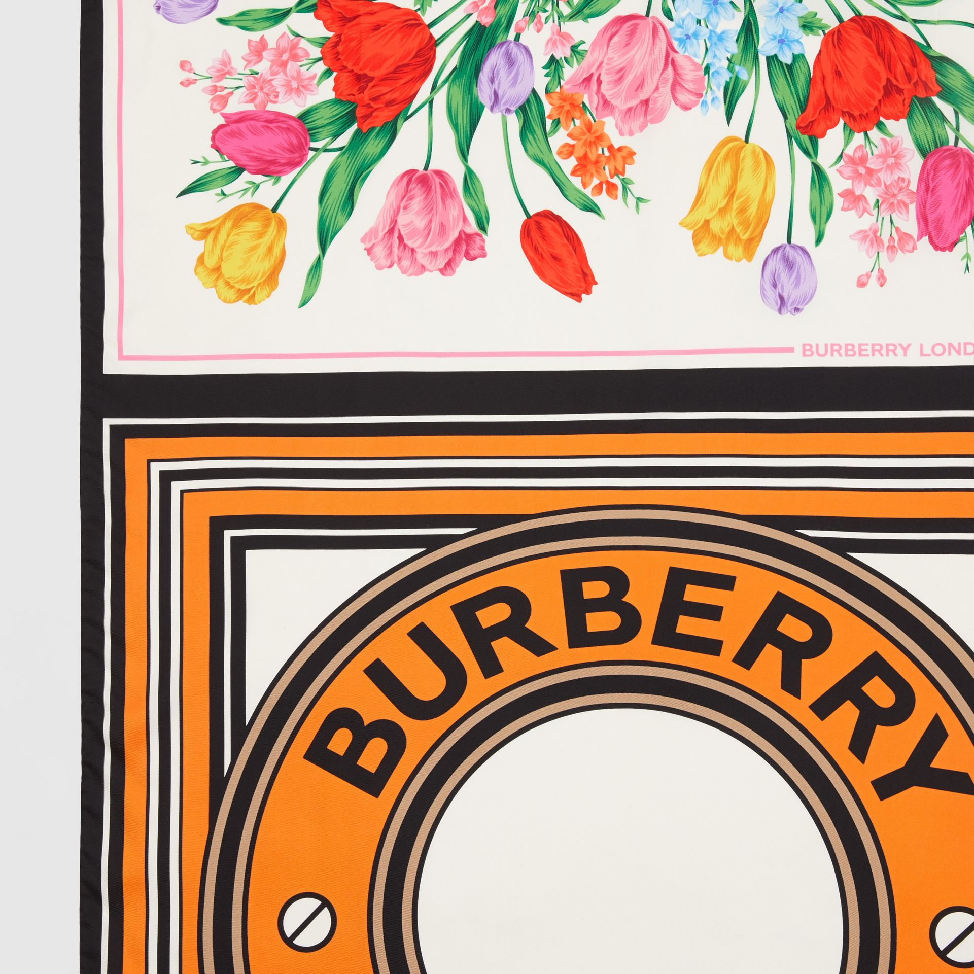 Montage Print Silk Scarf in Bright Orange | Burberry - gallery image 1