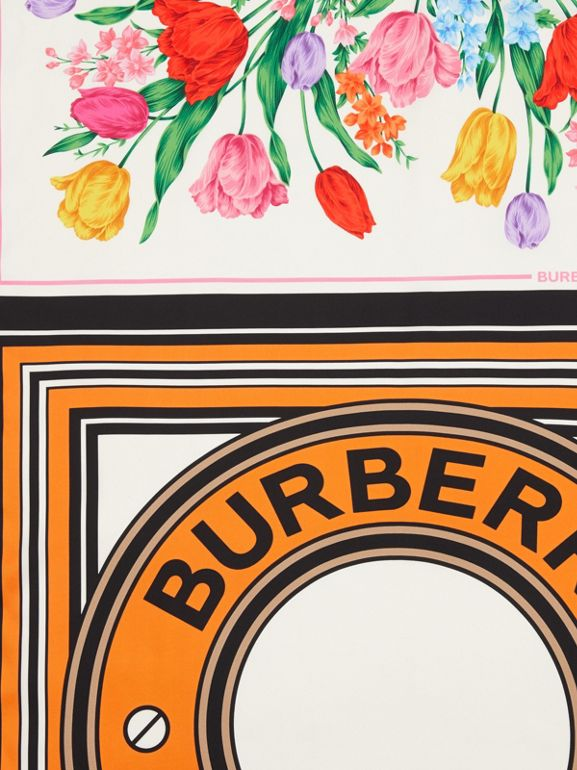 Montage Print Silk Scarf in Bright Orange | Burberry - cell image 1