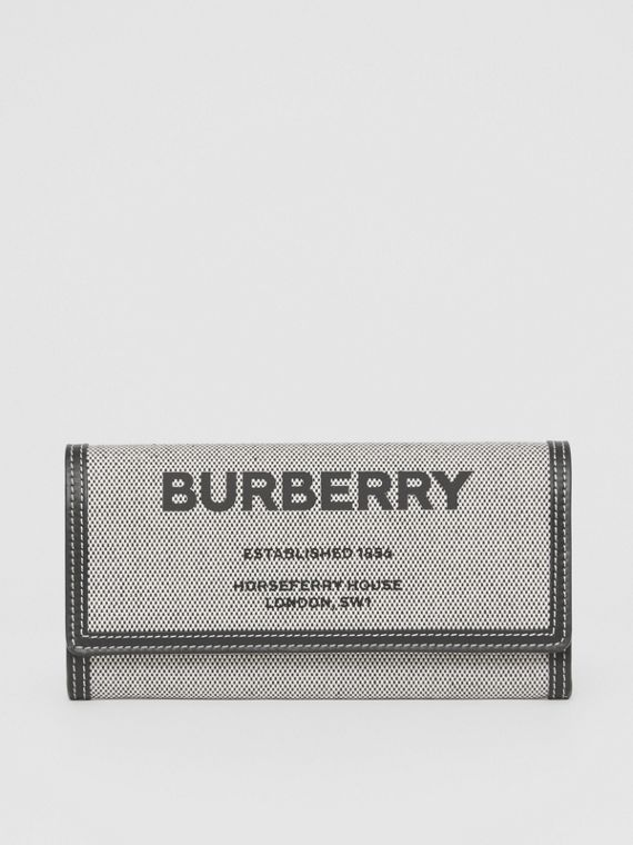Horseferry Print Cotton Canvas Continental Wallet in Black/tan