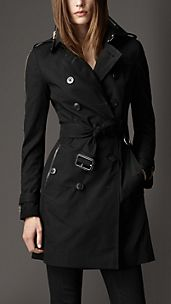 Trench-coat zippé mi-long en gabardine