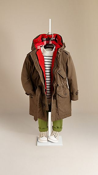 Cotton Twill Parka with Removable Jacket