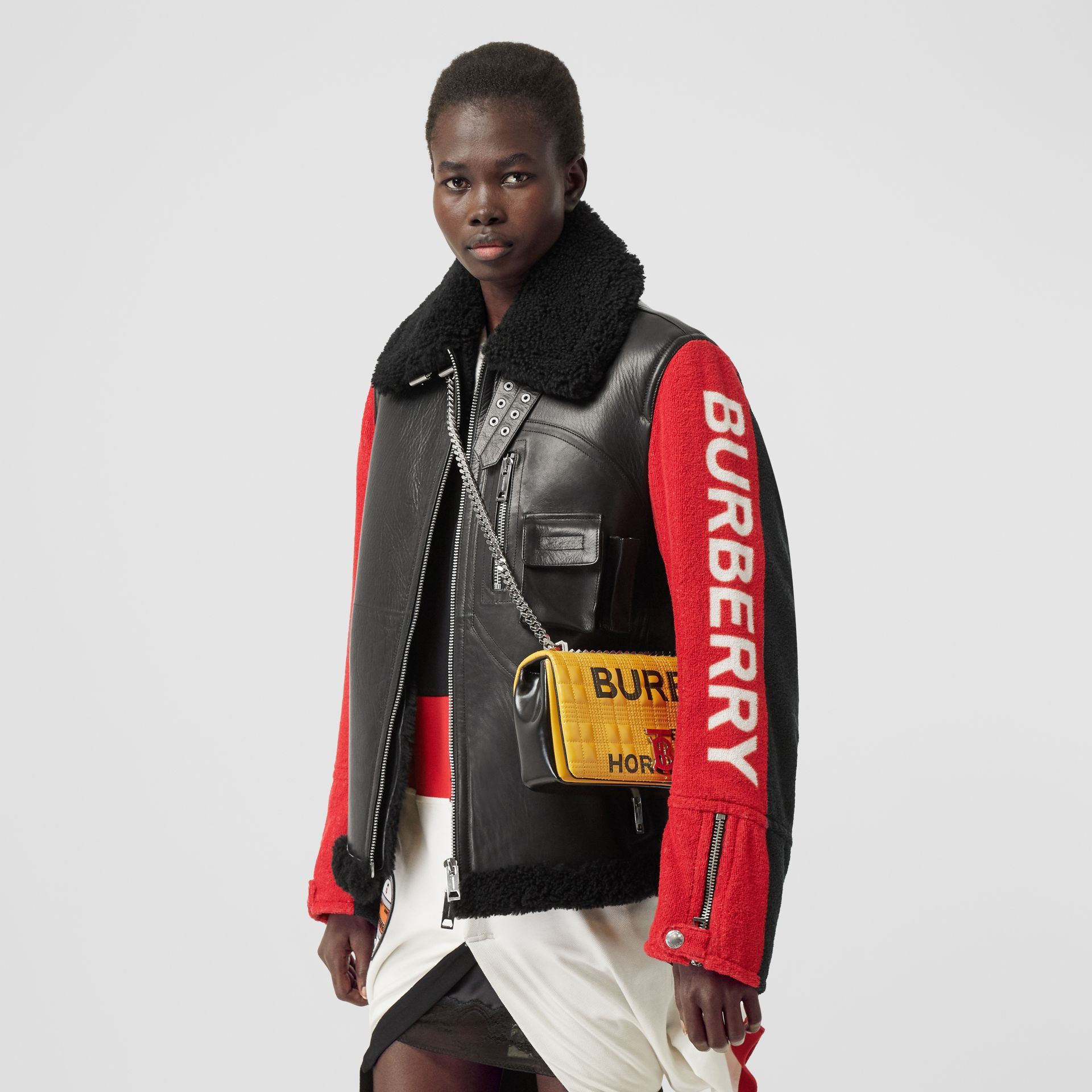Small Horseferry Print Quilted Lola Bag in Yellow | Burberry Australia - gallery image 2